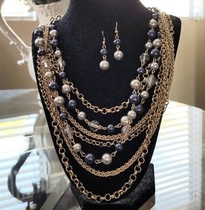 Multi Strand Navy/Grey Pearl Gold Necklace
